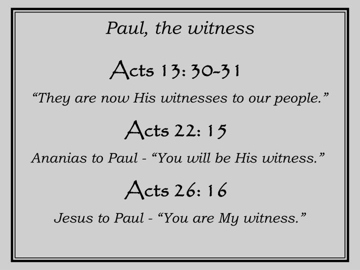 Paul, the witness