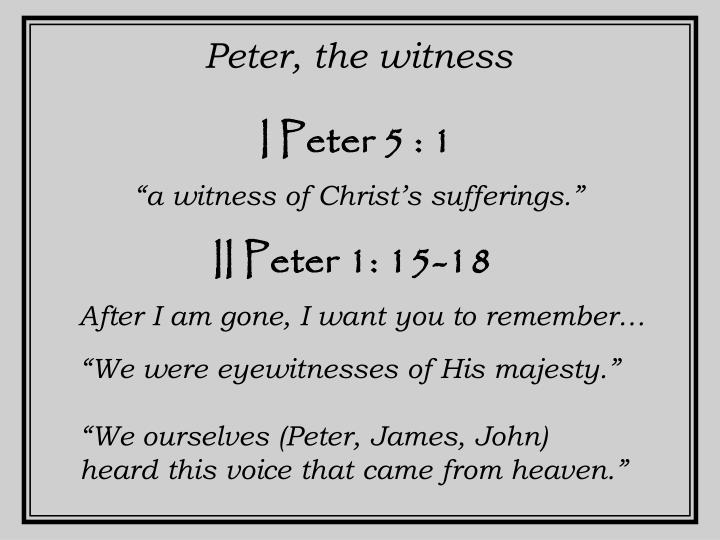 Peter, the witness