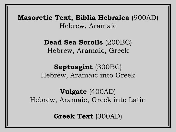 Masoretic Text, Biblia Hebraica