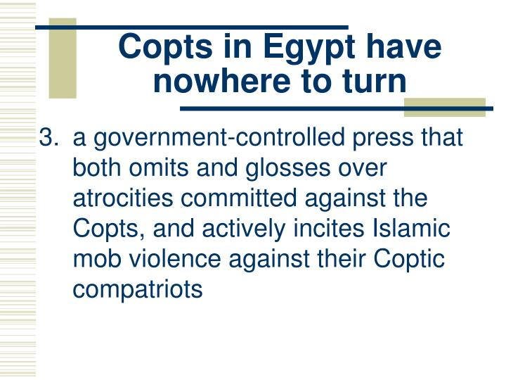 Copts in Egypt have nowhere to turn