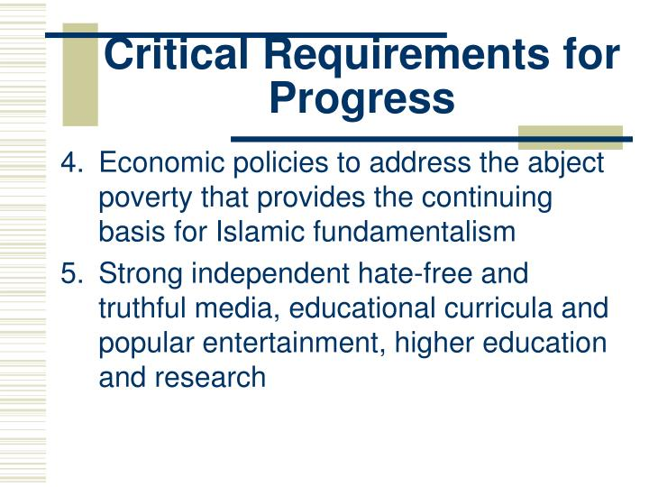 Critical Requirements for Progress