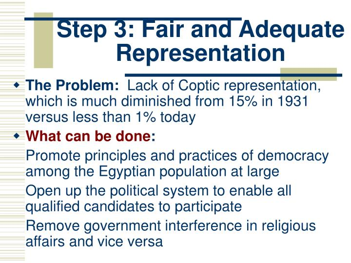 Step 3: Fair and Adequate Representation