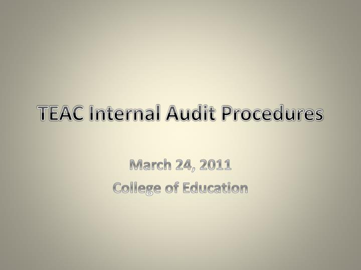 teac internal audit procedures n.
