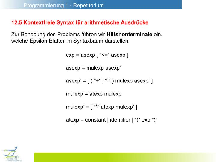 12.5 Kontextfreie Syntax für arithmetische Ausdrücke
