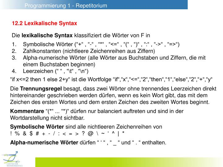 12.2 Lexikalische Syntax