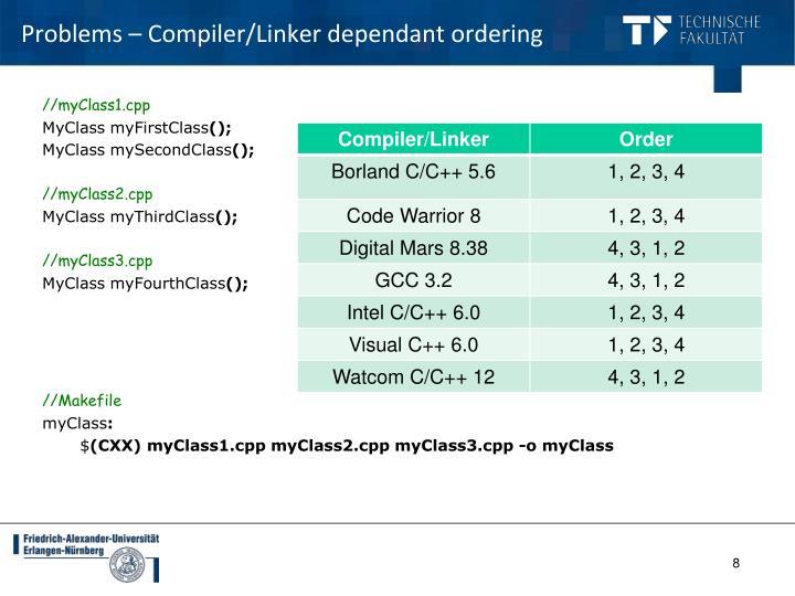 Problems – Compiler/Linker dependant ordering