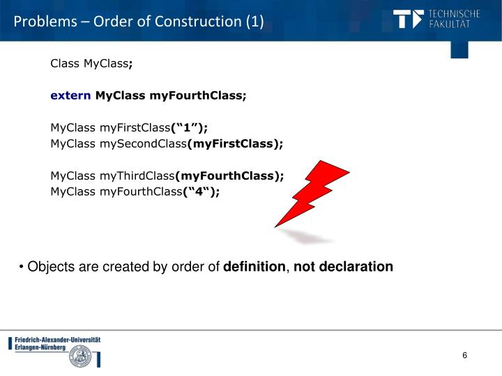 Problems – Order of Construction (1)