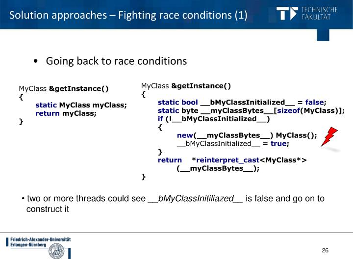 Solution approaches – Fighting race conditions (1)