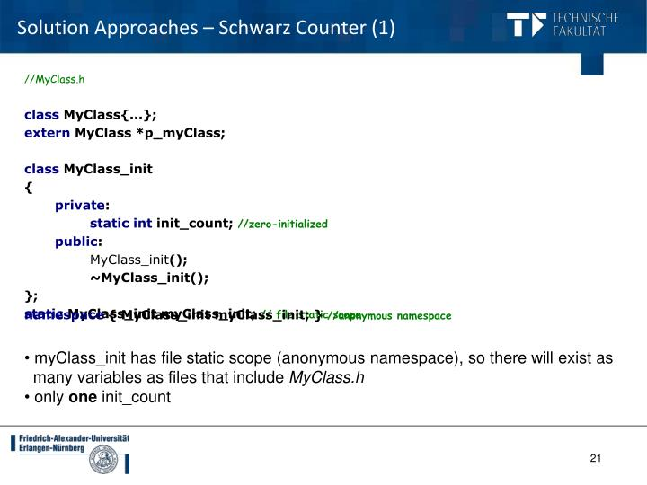 Solution Approaches – Schwarz Counter (1)