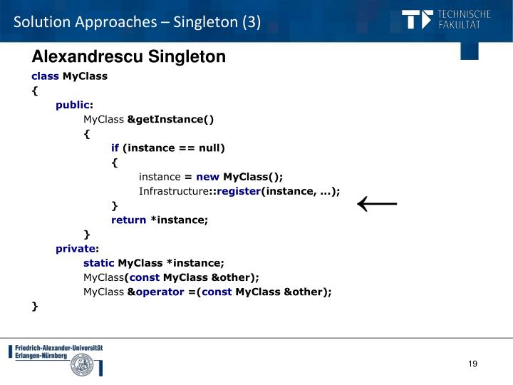 Solution Approaches – Singleton (3)