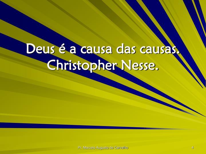 Deus é a causa das causas. Christopher Nesse.