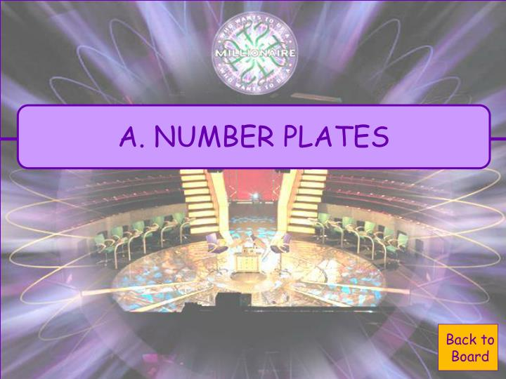 A. NUMBER PLATES