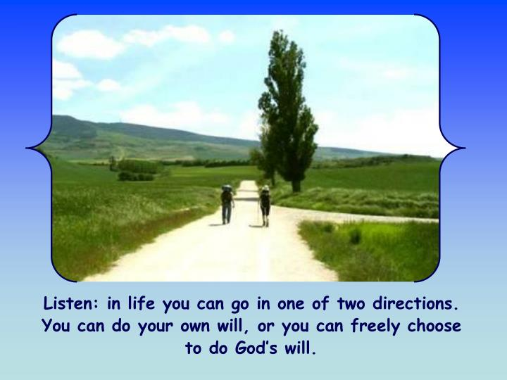 Listen: in life you can go in one of two directions. You can do your own will, or you can freely choose to do God's will.