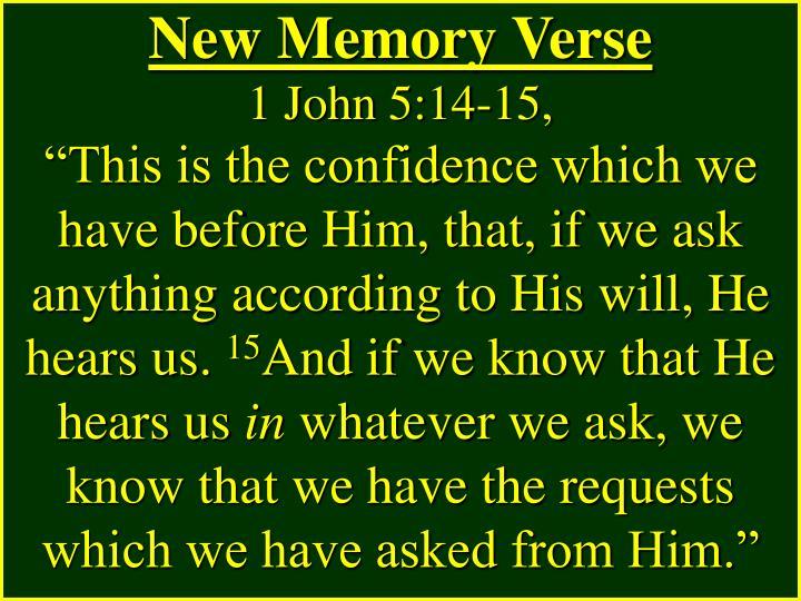 New Memory Verse