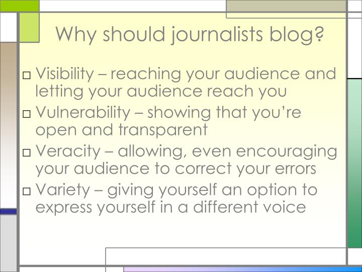 Why should journalists blog