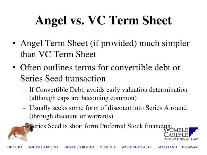 Angel vs vc term sheet