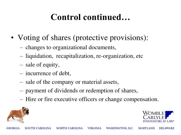 Control continued…