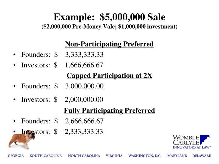 Example:  $5,000,000 Sale