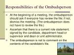 responsibilities of the ombudsperson