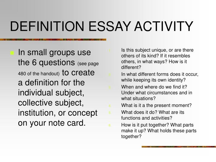 the e activity essay Owl family of sites  purdue owl engagement  ged preparation the map below uses the sample essay topic from the previous resource to show you what an idea map.
