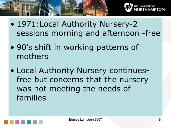 1971:Local Authority Nursery-2 sessions morning and afternoon -free