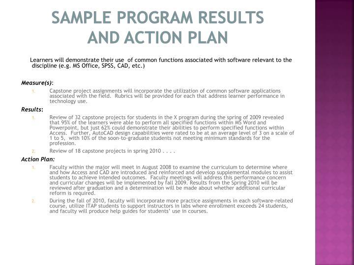 Sample Program Results       and Action Plan