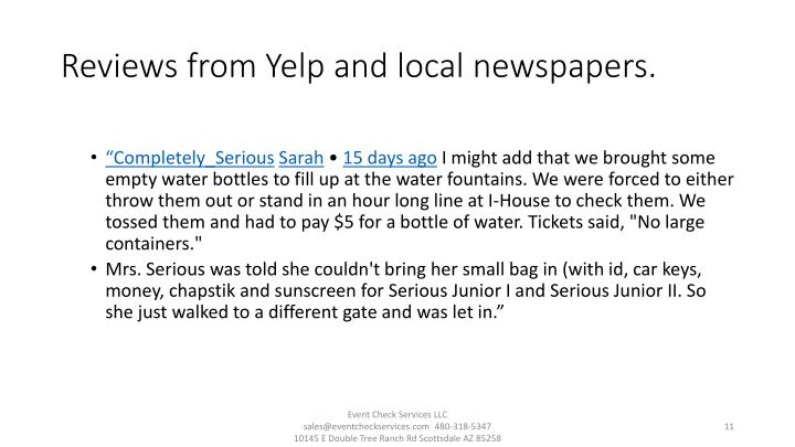 Reviews from Yelp and local