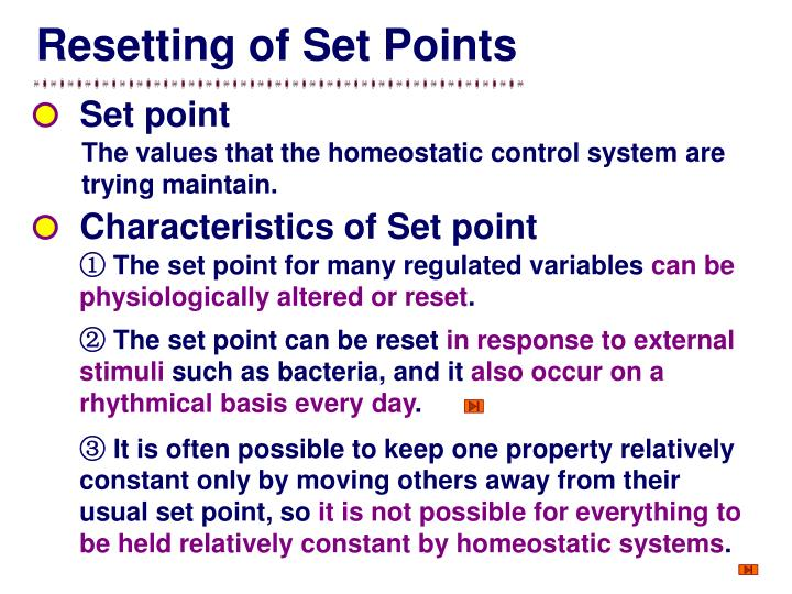 Resetting of Set Points