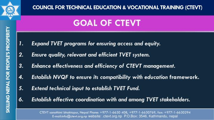 Goal of ctevt