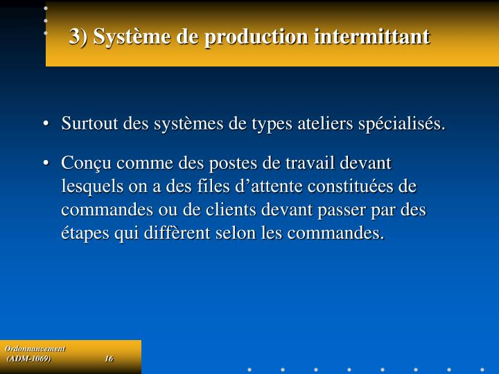 3) Système de production intermittant