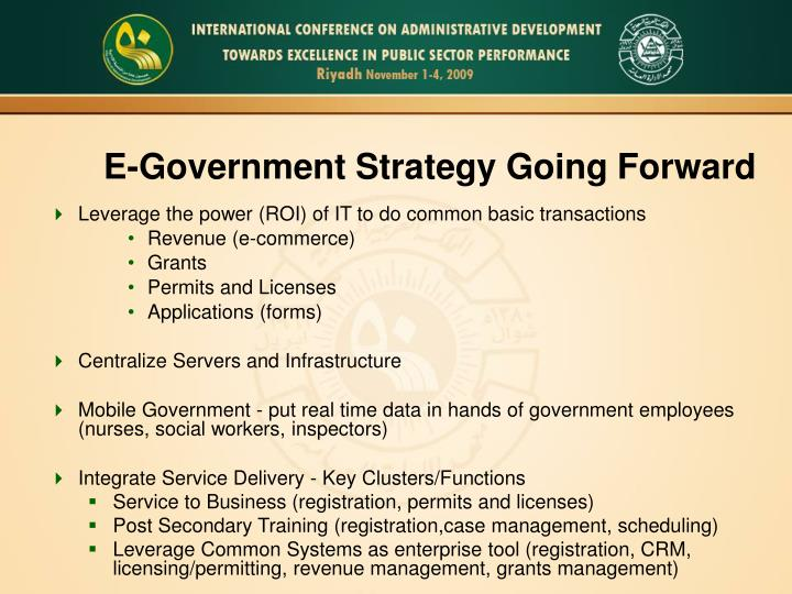 E-Government Strategy Going Forward