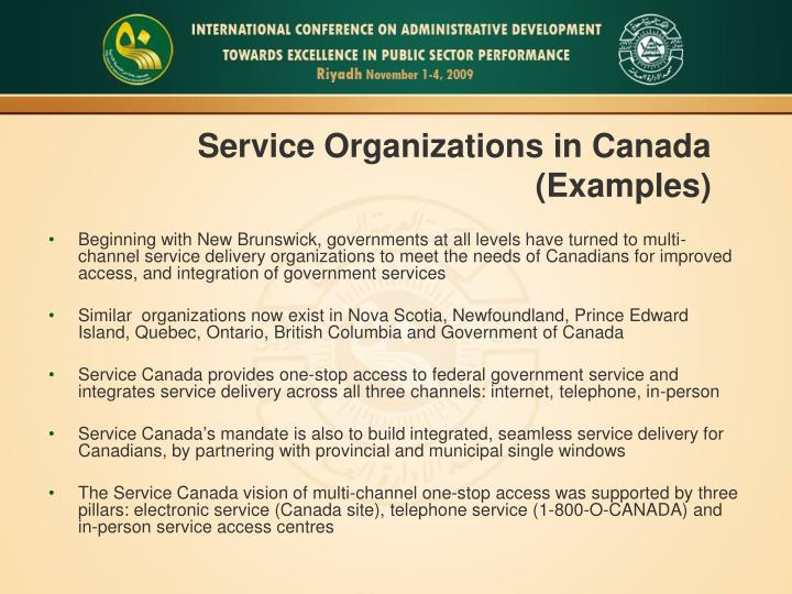 Service Organizations in Canada (Examples)