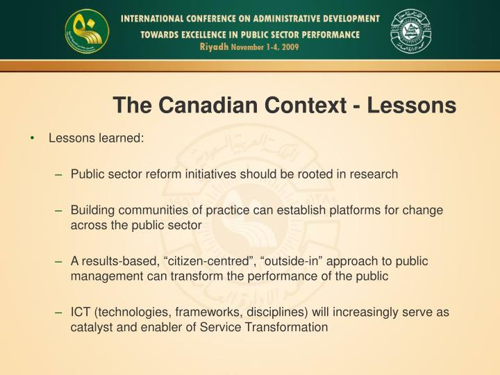 The Canadian Context - Lessons
