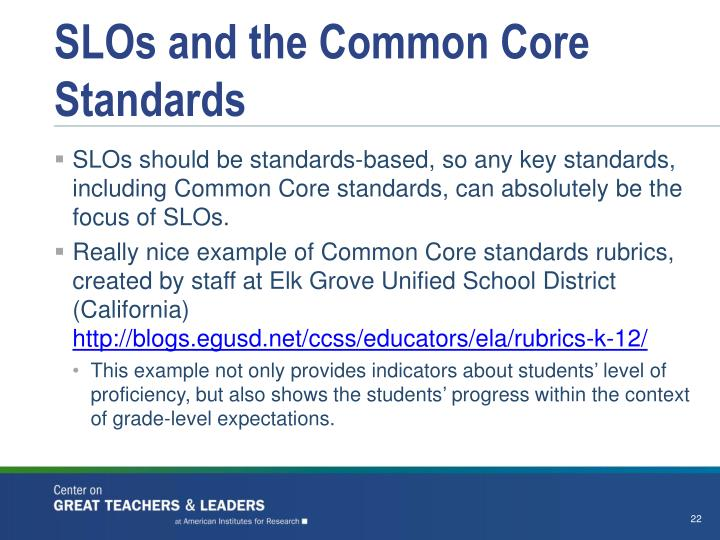 SLOs and the Common Core Standards