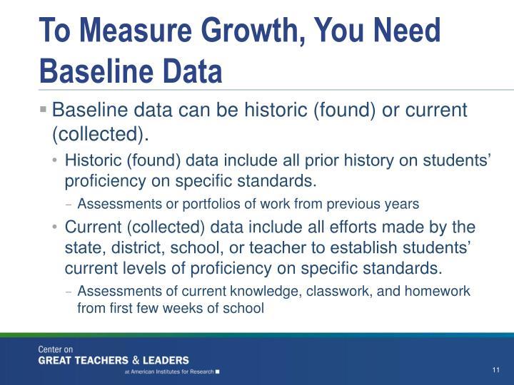 To Measure Growth, You Need Baseline Data