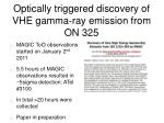optically triggered discovery of vhe gamma ray emission from on 325