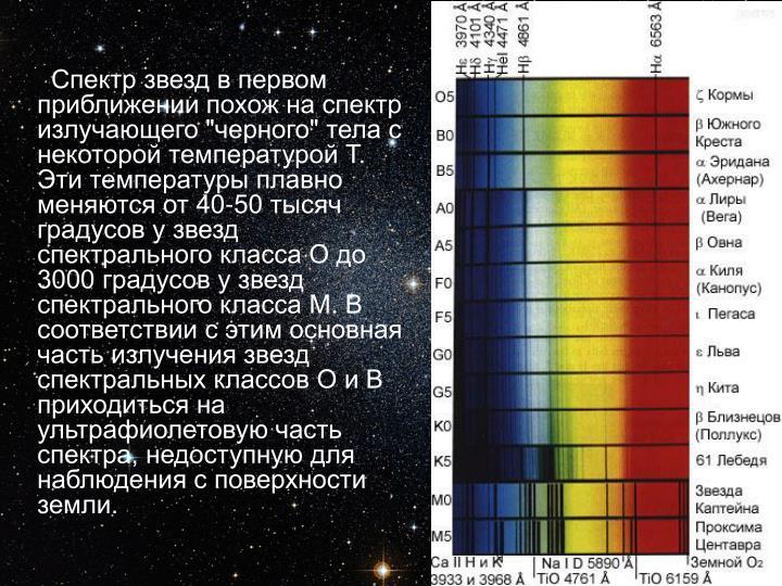 """Спектр звезд в первом приближении похож на спектр излучающего """"черного"""" тела с некоторой температурой Т. Эти температуры плавно меняются от 40-50 тысяч градусов у звезд спектрального класса О до 3000 градусов у звезд спектрального класса М. В соответствии с этим основная часть излучения звезд спектральных классов О и В приходиться на ультрафиолетовую часть спектра, недоступную для наблюдения с поверхности земли."""