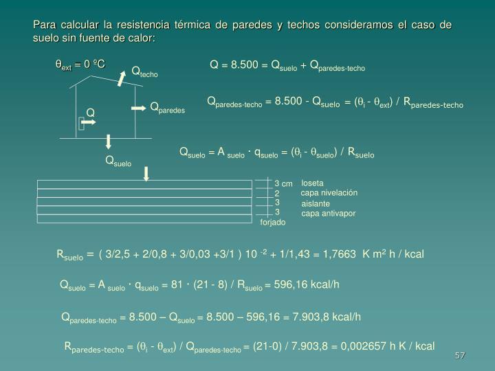 Para calcular la resistencia térmica de paredes y techos consideramos el caso de suelo sin fuente de calor: