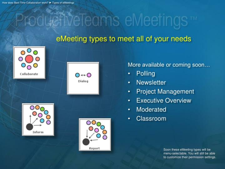How does Best-Time Collaboration work? ► Types of eMeetings