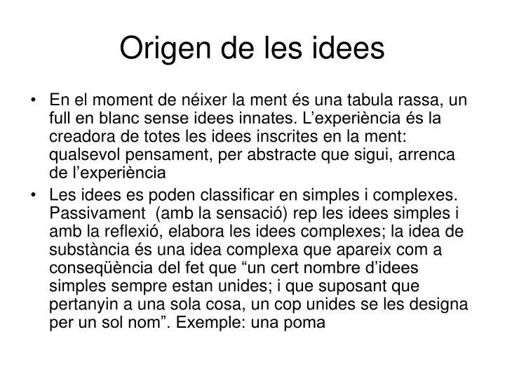 Origen de les idees