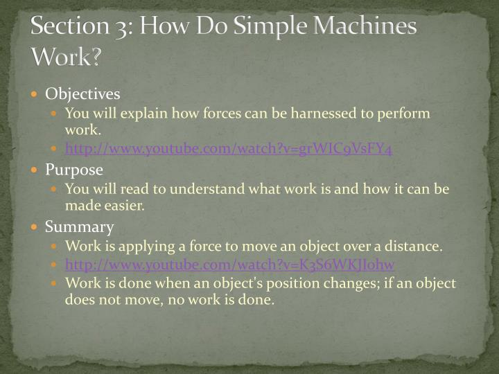 Section 3: How Do Simple Machines Work?
