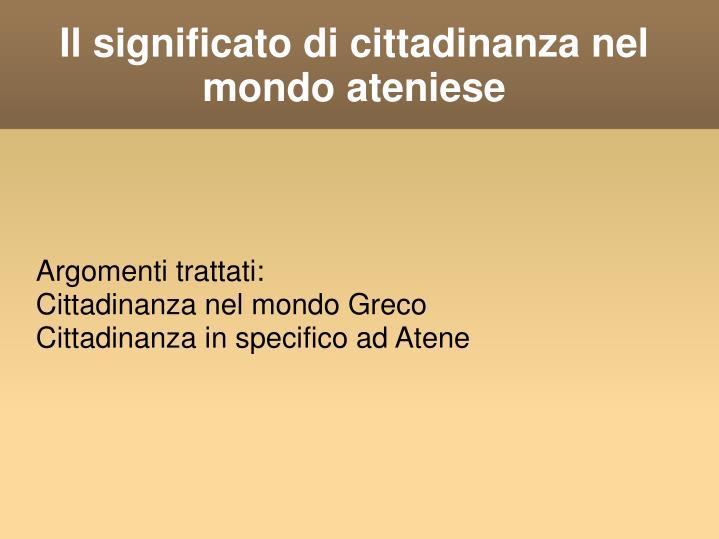 Il significato di cittadinanza nel mondo ateniese