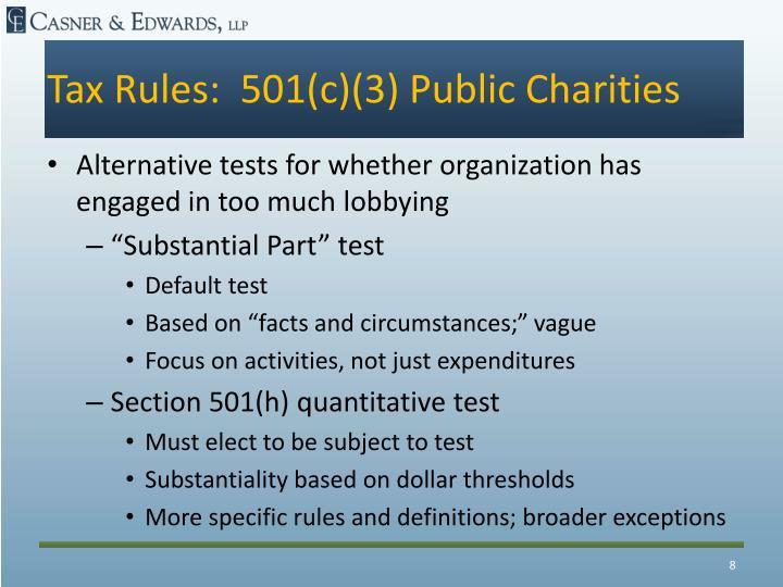Tax Rules:  501(c)(3) Public Charities