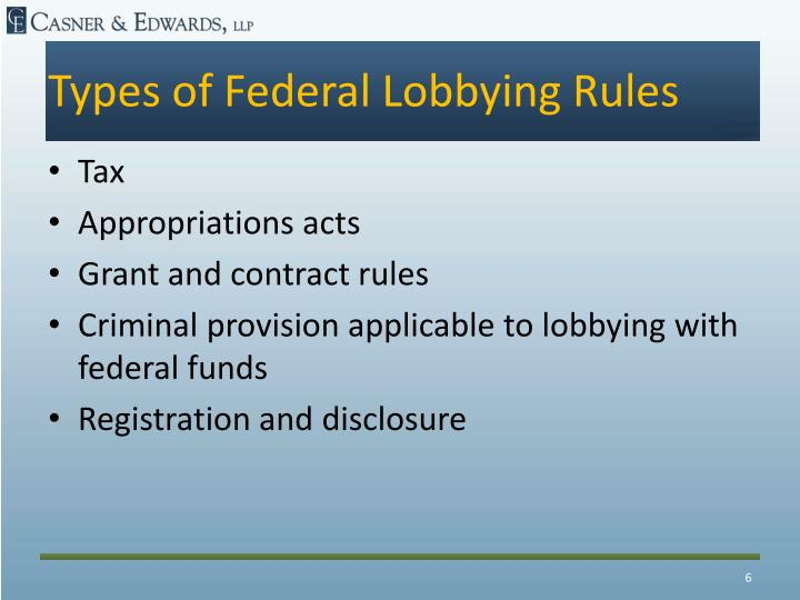 Types of Federal Lobbying Rules