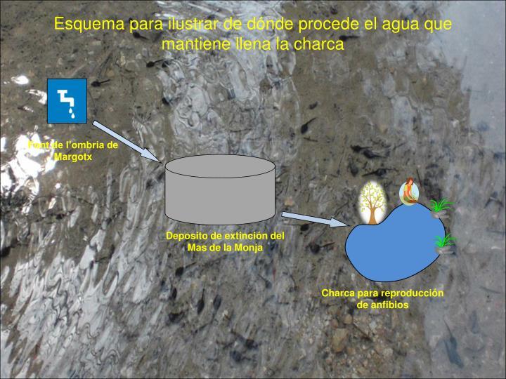 Esquema para ilustrar de dónde procede el agua que  mantiene llena la charca