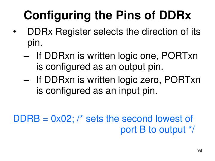 Configuring the Pins of