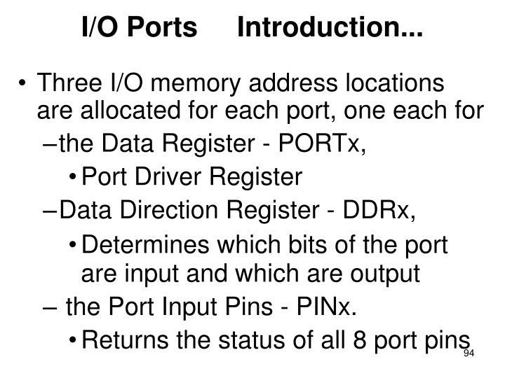 I/O Ports     Introduction...