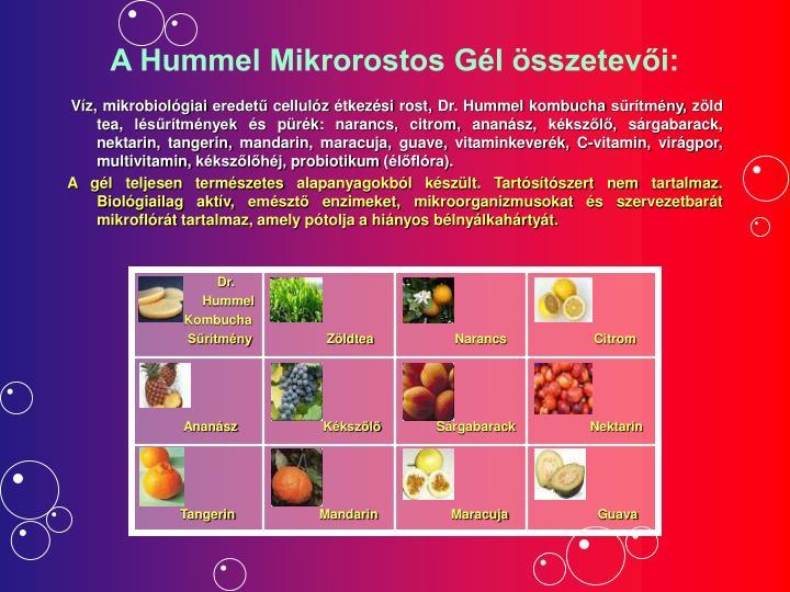 A Hummel Mikrorostos Gél összetevői: