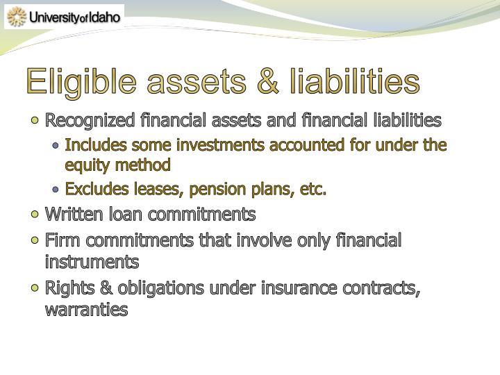 Eligible assets & liabilities
