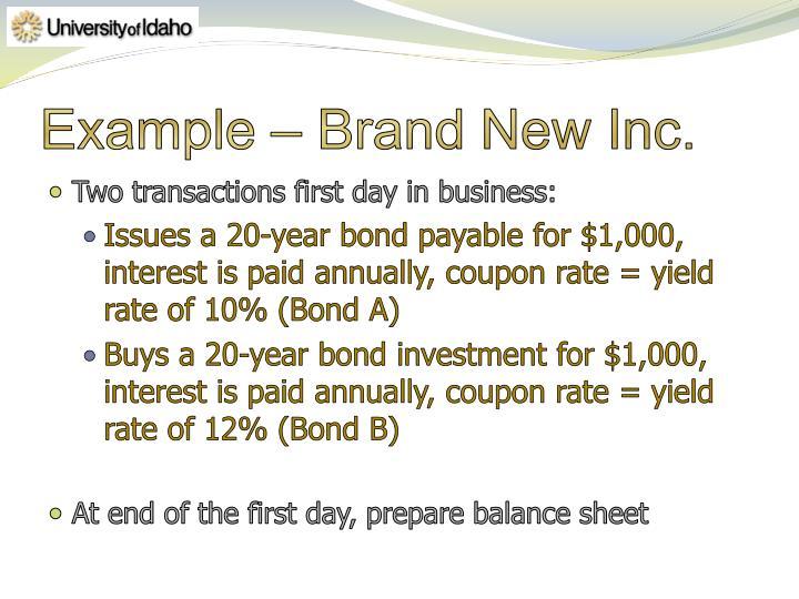 Example – Brand New Inc.